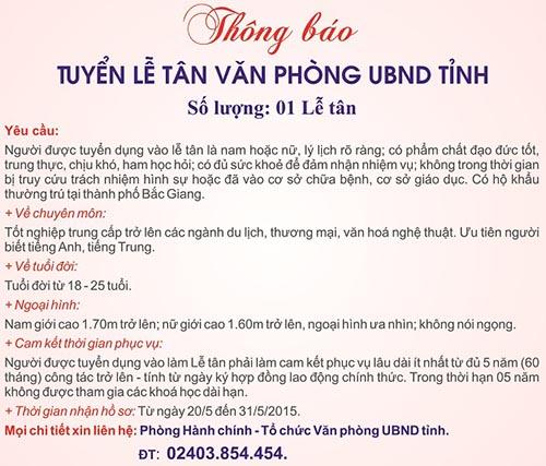 Văn phòng UBND tỉnh Bắc Giang thông báo tuyển dụng lễ tân