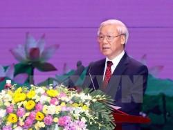 Tổng Bí thư Nguyễn Phú Trọng đọc Diễn văn tại Lễ kỷ niệm. (Ảnh: Nguyễn Dân/TTXVN)