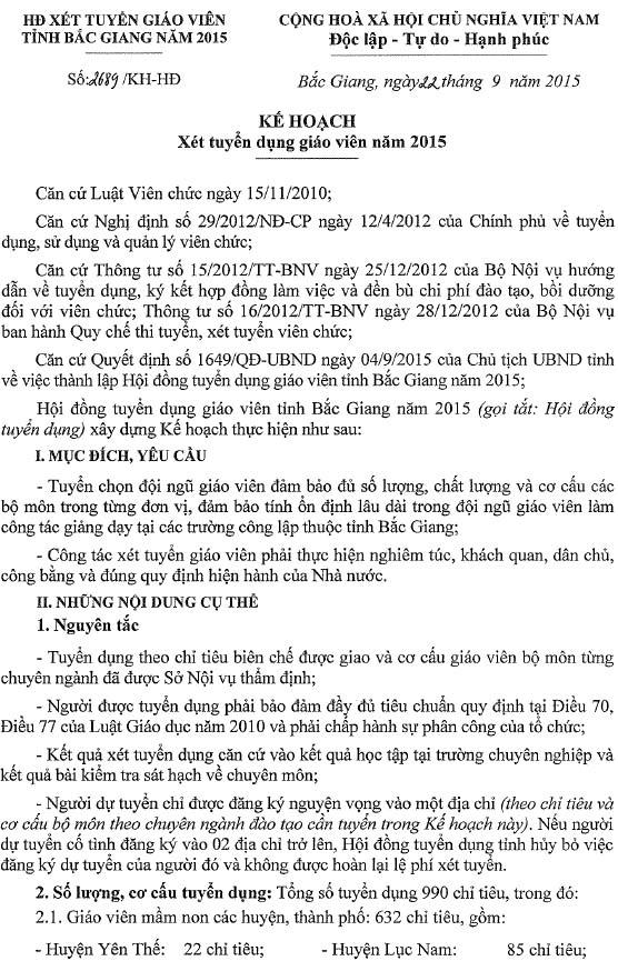 UBND tỉnh Bắc Giang thông báo Kế hoạch tuyển dụng giáo viên năm 2015