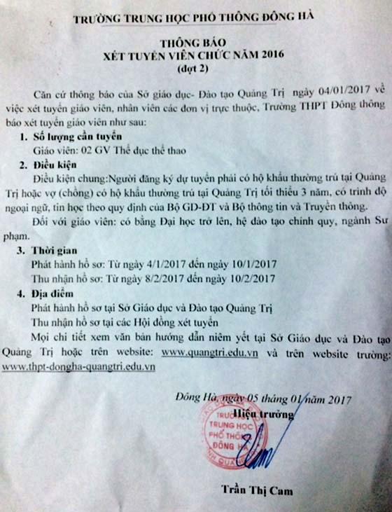 Trường THPT Đông Hà, Quảng Trị thông báo xét tuyển viên chức đợt 2 - 2016