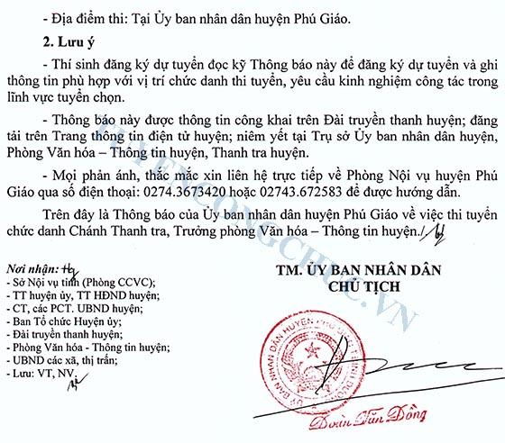 Thong bao Thi tuyen chuc danh Chanh Thanh tra,Truong phong VHTT huyen PG-4
