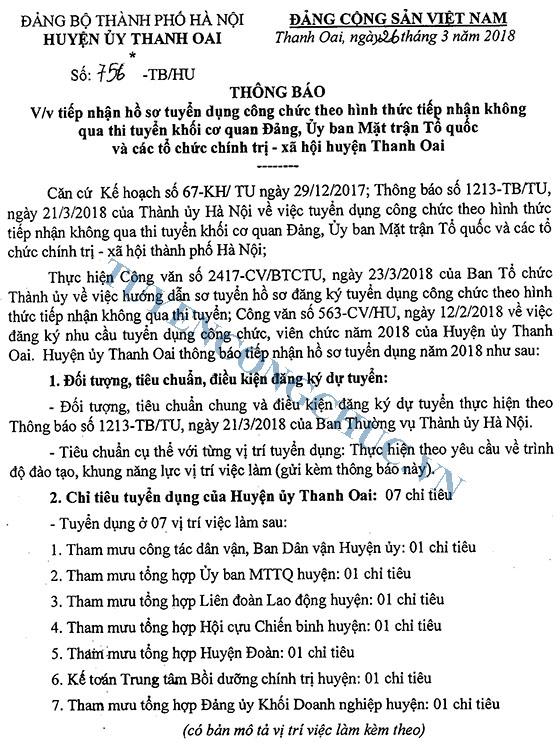 756-TB ve viec tiep nhan ho so tuyen dung cong chuc theo hình thuc tiep nhan khong qua thi tuyen khoi cq Dang, MTTQ va cac TCCTXH huyen Thanh oai-1