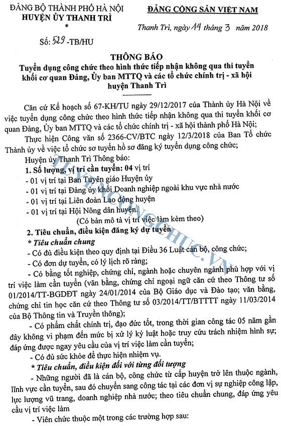 Thong bao So 529-TBHU ve viec tuyen dung can bo cong chuc 2018-1
