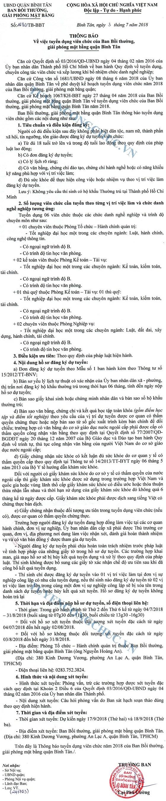 Ban Bồi thường, giải phóng quận Bình Tân, TP.Hồ Chí Minh tuyển dụng viên chức