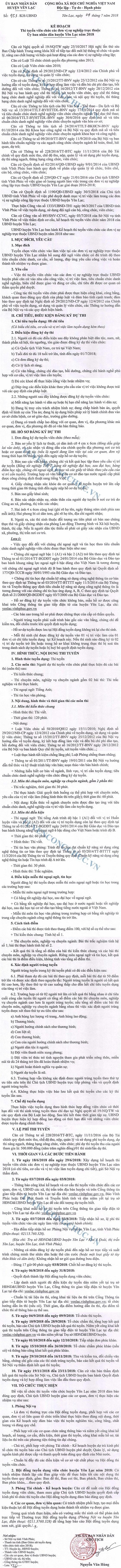 UBND huyện Yên Lạc, Vĩnh Phúc tuyển dụng viên chức năm 2018