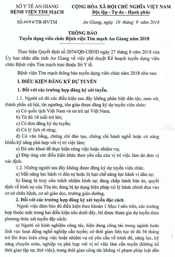 Bệnh viện Tim mạch An Giang xét tuyển viên chức năm 2018