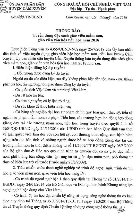 UBND huyện Cẩm Xuyên, Hà Tĩnh tuyển dụng đặc cách giáo viên mầm non, giáo viên văn hóa tiểu học năm 2018