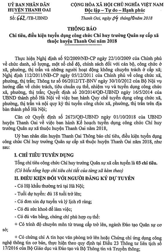 2018-TB-UBND-662-TB chỉ tiêu, điều kiện tuyển dụng Chỉ huy trưởng quân sự cấp xã thuộc huyện Thanh Oai năm 2018-1