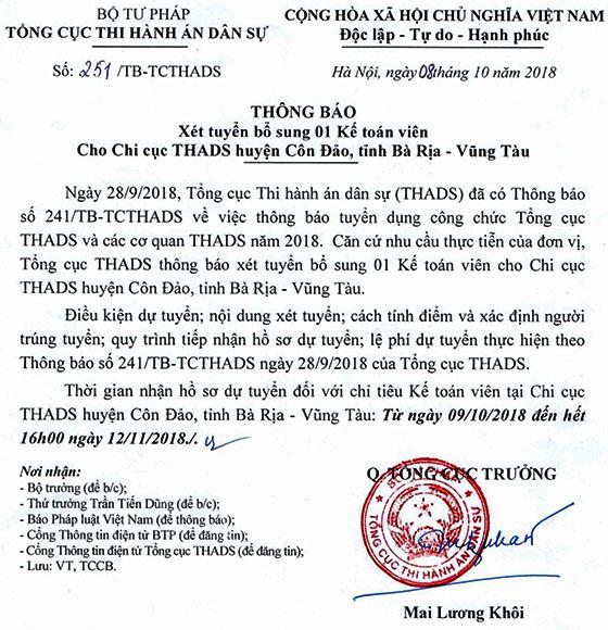 Thong bao xet tuyen 251TB-TCTHADS