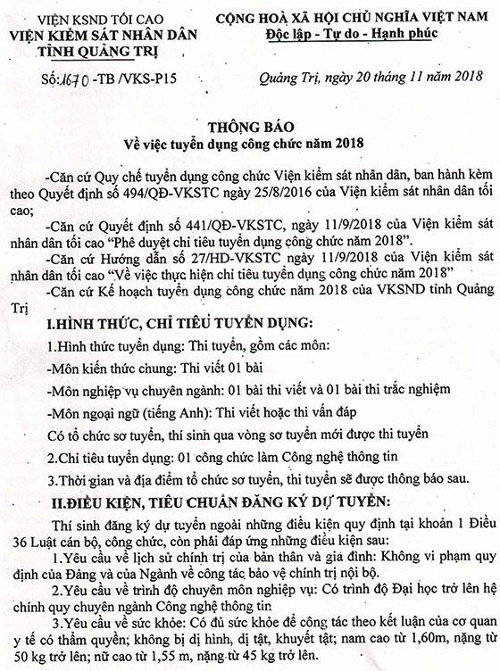 Số 1670 TB VKS P15 ngày 20