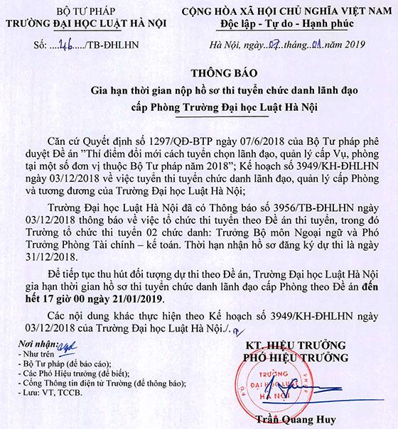 46 TB-ĐHLHN gia hạn thời gian nộp hồ sơ thi tuyển ch