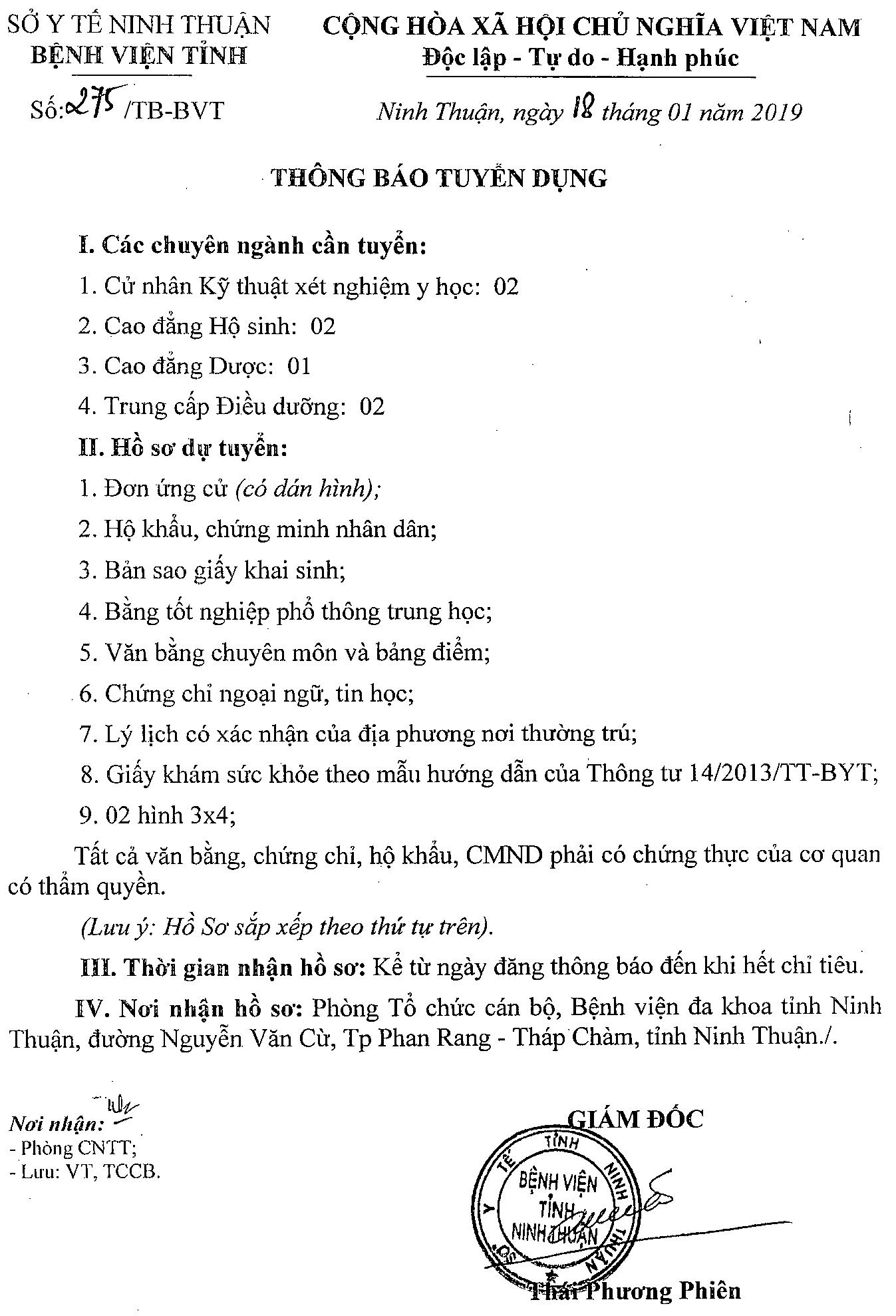 Thong bao tuyen dung thang 1 - 2019