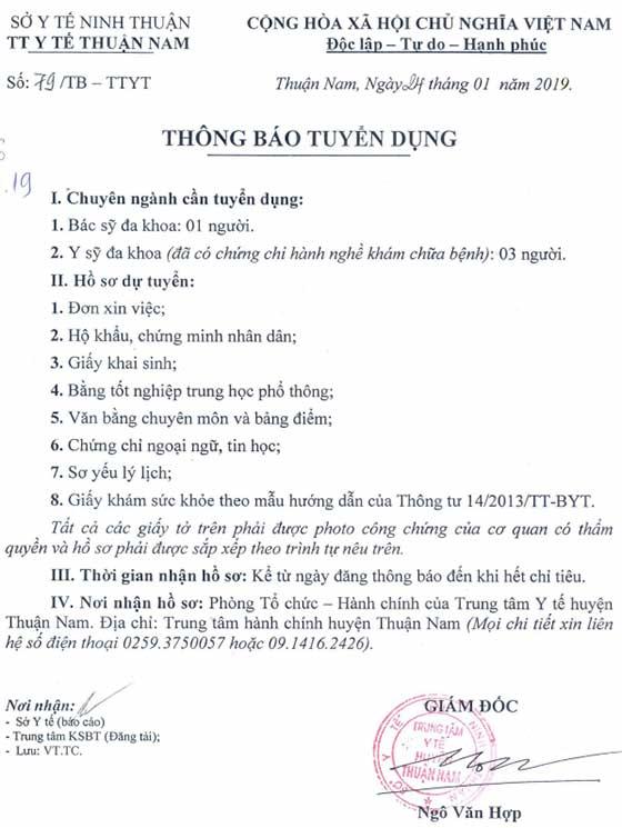 Trung tâm Y tế Thuận Nam, Ninh Thuận thông báo tuyển dụng năm 2019
