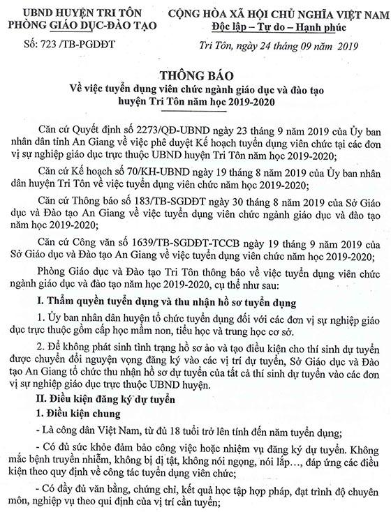 Phòng Giáo dục và Đào tạo huyện Tri Tôn, An Giang tuyển viên chức năm học 2019 - 2020