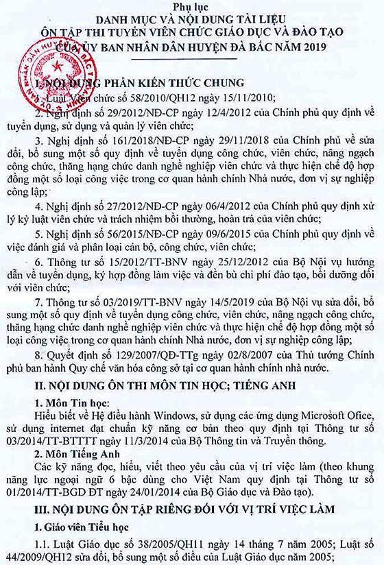 UBND huyện Đà Bắc, Hòa Bình tuyển viên chức ngành giáo dục năm 2019