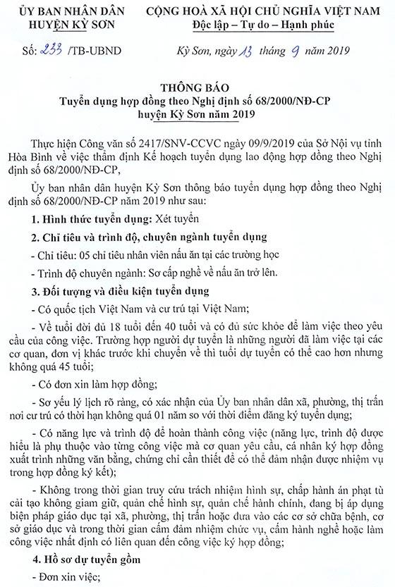 UBND huyện Kỳ Sơn, Hòa Bình tuyển dụng năm 2019