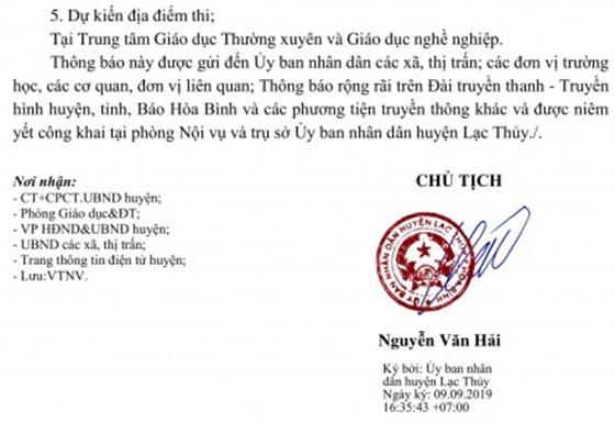 UBND Huyện Lạc Thủy tuyển viên chức ngành giáo dục năm 2019