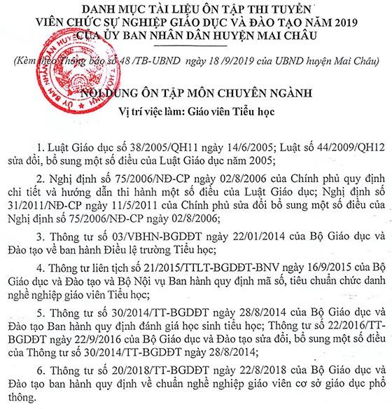 UBND huyện Mai Châu, Hòa Bình tuyển viên chức giáo dục năm 2019