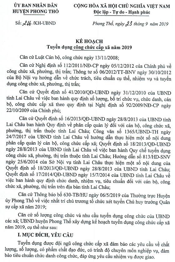 UBND huyện Phong Thổ, Lai Châu tuyển công chức cấp xã năm 2019