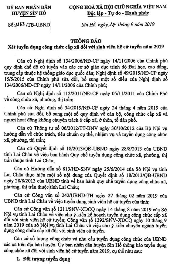 UBND huyện Sìn Hồ, Lai Châu tuyển công chức cấp xã đối với sinh viên hệ cử tuyển năm 2019