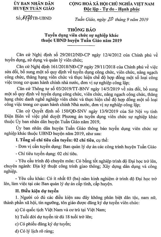 UBND huyện Tuần Giáo, Điện Biên tuyển viên chức năm 2019