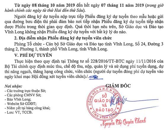 Sở Giáo dục và Đào tạo tỉnh Vĩnh Long tuyển dụng viên chức giáo dục năm 2019