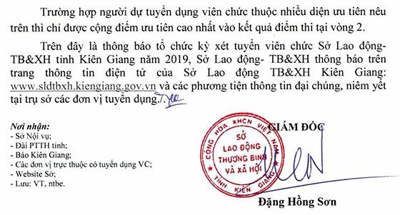 Sở Lao động - Thương Binh và Xã hội tỉnh Kiên Giang xét tuyển viên chức năm 2019