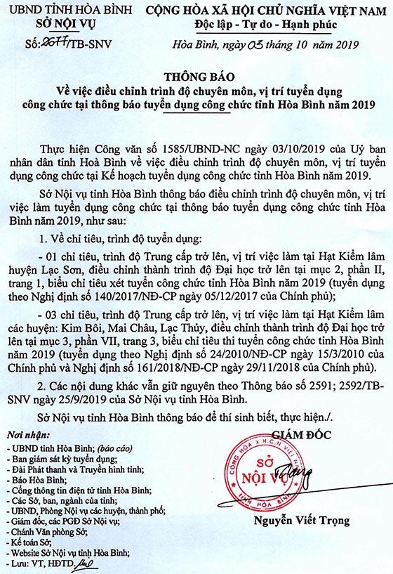 Sở Nội vụ tỉnh Hòa Bình tuyển dụng công chức tỉnh năm 2019