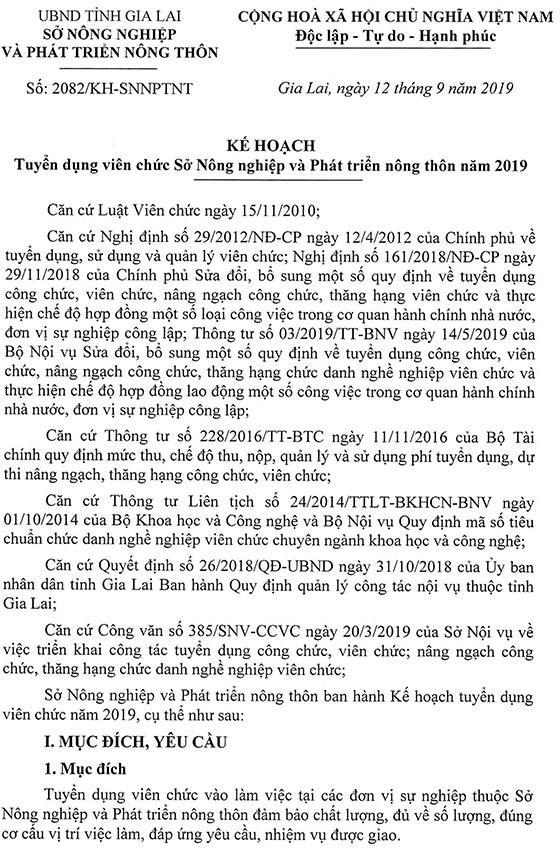 Sở Nông nghiệp và Phát triển nông thôn Gia Lai tuyển dụng viên chức năm 2019