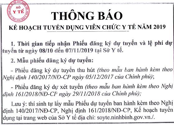 Sở Y tế tỉnh Ninh Bình tuyển dụng viên chức ngành Y tế năm 2019