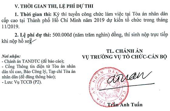 Tòa án nhân dân cấp cao tại TP.HCM tuyển dụng công chức năm 2019