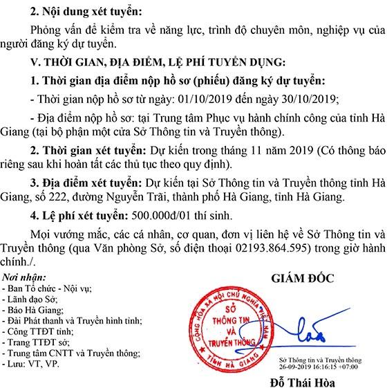 Trung tâm Công nghệ Thông tin và Truyền thông tỉnh Hà Giang tuyển dụng viên chức năm 2019