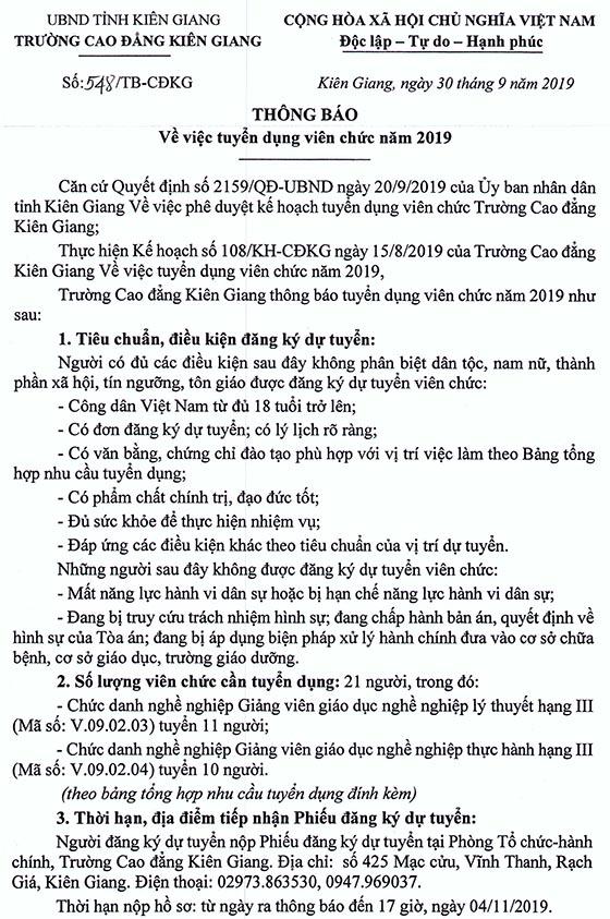 Trường Cao đẳng Kiên Giang tuyển dụng viên chức năm 2019