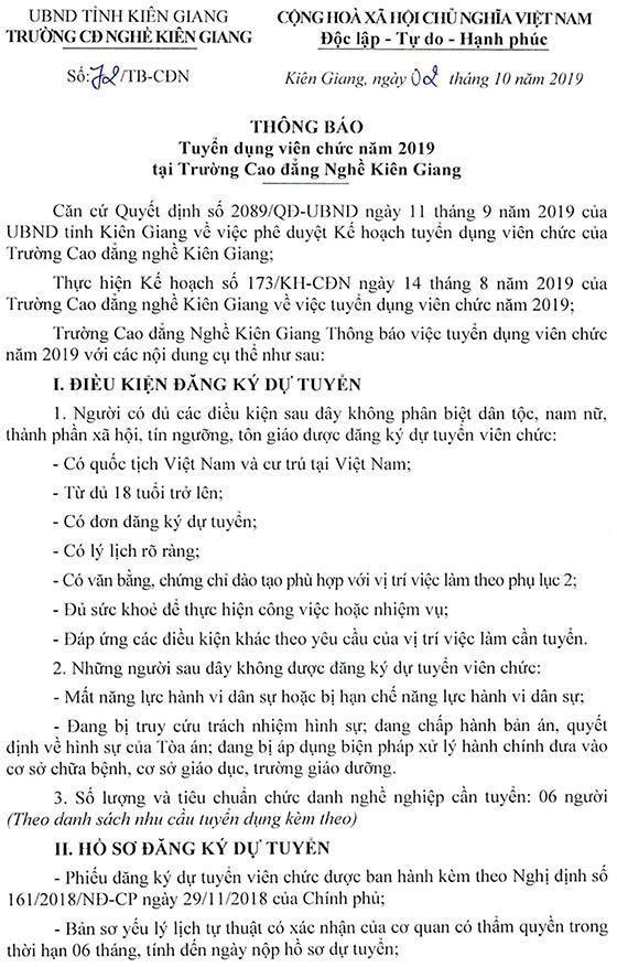 Trường Cao đẳng nghề Kiên Giang tuyển dụng viên chức năm 2019