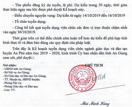 UBND huyện An Phú, An Giang tuyển viên chức giáo dục năm học 2019 - 2020