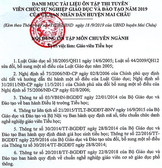UBND huyện Mai Châu, Hòa Bình tuyển dụng viên chức giáo viên năm 2019