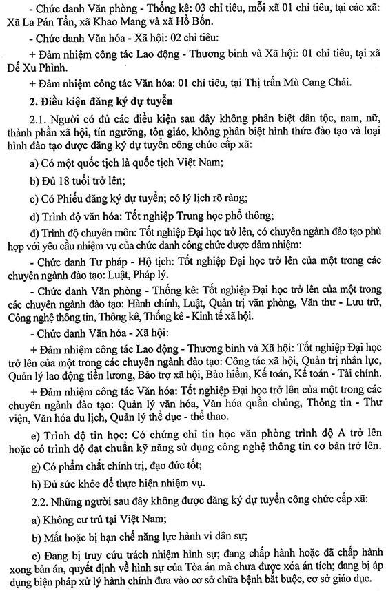 UBND huyện Mù Cang Chải, Yên Bái tuyển dụng công chức xã năm 2019
