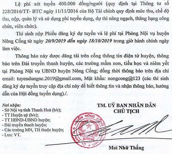 UBND huyện Nông Cống, Thanh Hóa tuyển dụng viên chức giáo dục năm 2019
