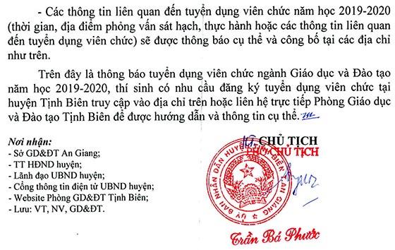 UBND huyện Tịnh Biên, An Giang tuyển dụng viên chức giáo dục năm 2019