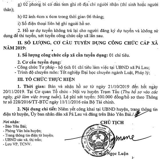UBND huyện Trạm Tấu, Yên Bái tuyển dụng công chức xã năm 2019