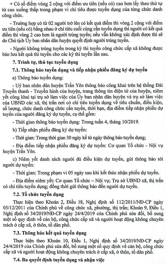 UBND huyện Trấn Yên, Yên Bái tuyển dụng công chức xã năm 2019