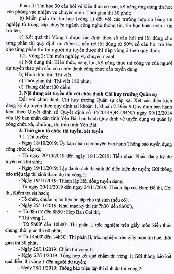 UBND huyện Văn Chấn, Yên Bái tuyển dụng công chức năm 2019