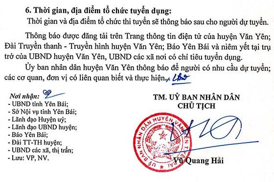 UBND huyện Văn Yên, Yên Bái tuyển dụng công chức năm 2019