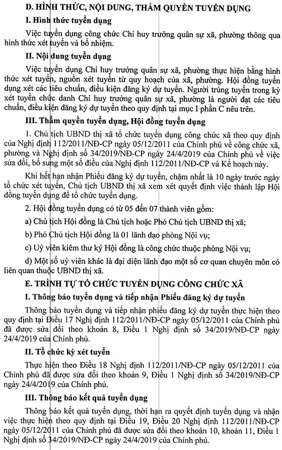 UBND Thị xã Sơn Tây, Hà Nội tuyển dụng công chức năm 2019