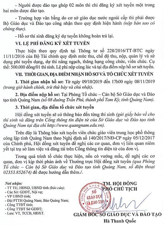 UBND tỉnh Quảng Nam tuyển dụng giáo viên năm 2019
