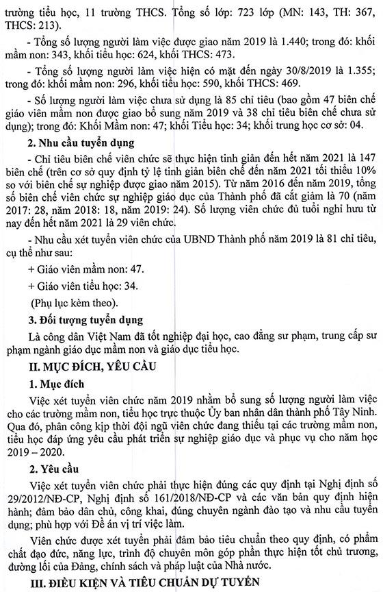 UBND TP Tây Ninh, Tây Ninh tuyển dụng giáo viên năm học 2019-2020