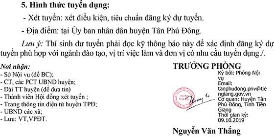 UNBD huyện Tân Phú Đông, Tiền Giang tuyển dụng công chức cấp xã năm 2019