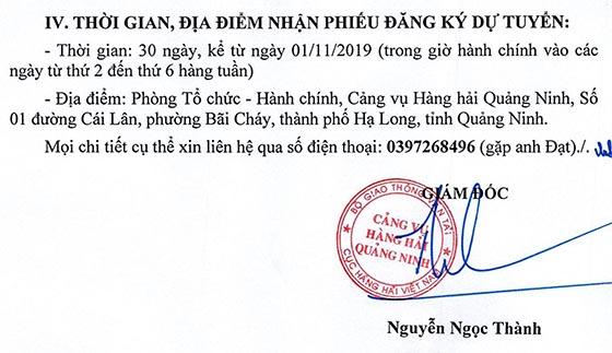 Cảng vụ Hàng hải Quảng Ninh tuyển dụng viên chức năm 2019