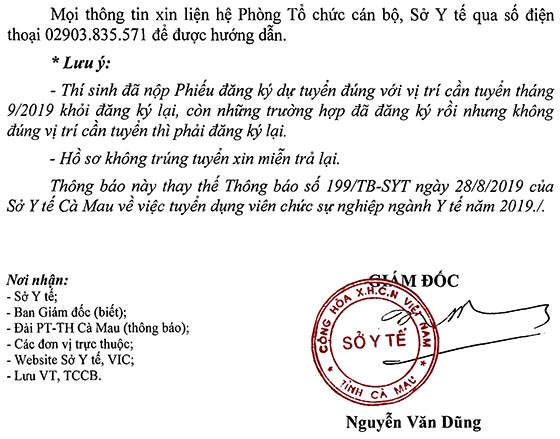 Sở Y tế tỉnh Cà Mau tuyển dụng viên chức năm 2019