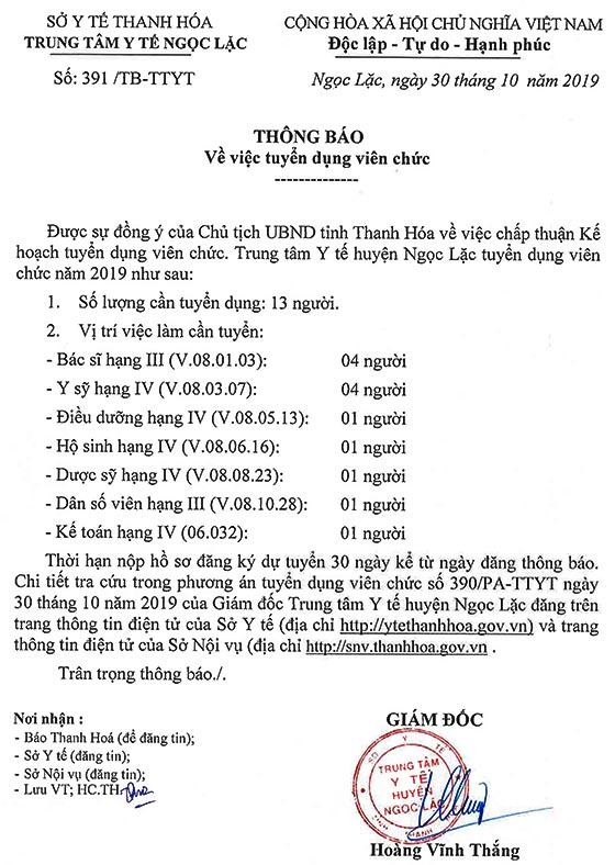 Trung tâm Y tế huyện Ngọc Lặc, Thanh Hóa tuyển dụng viên chức năm 2019